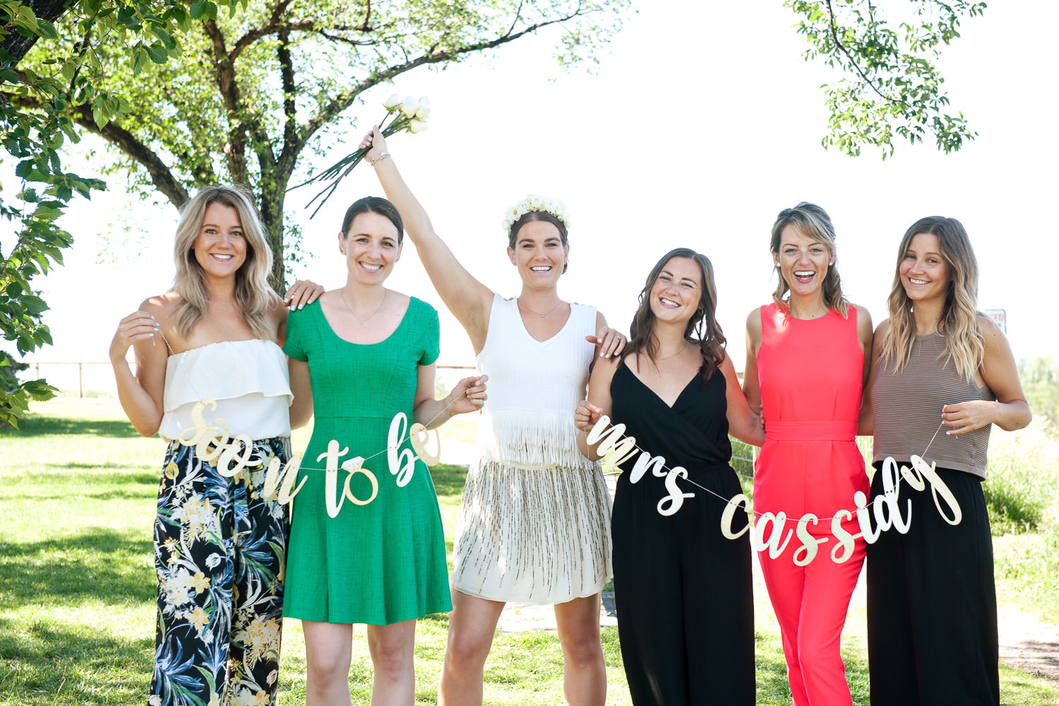 group photos at bride tribe celebration in Calgary captured by Tara Whittaker Photography