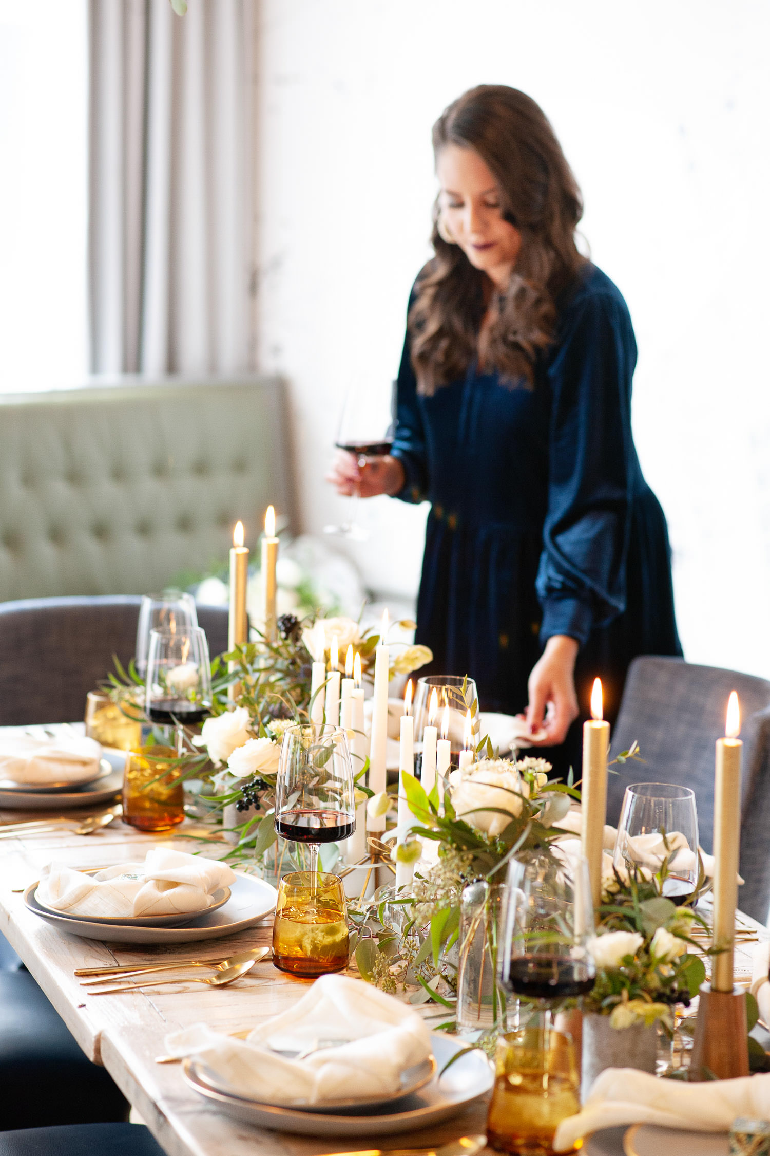 Evelyn from 206 Event Co. styles Hanukkah table captured by Calgary wedding photographer Tara Whittaker