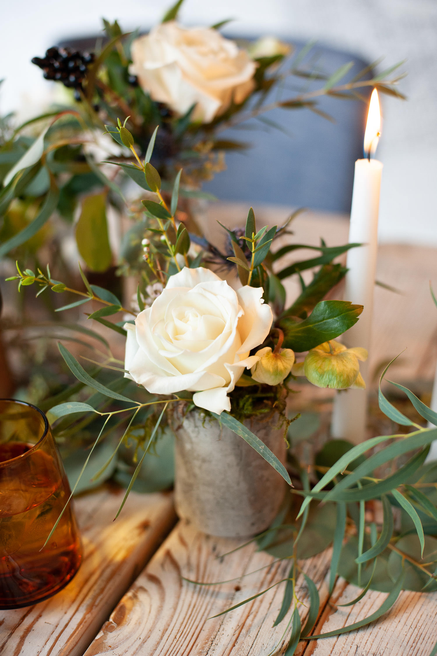 Floral details on Hanukkah table captured by Calgary wedding photographer Tara Whittaker