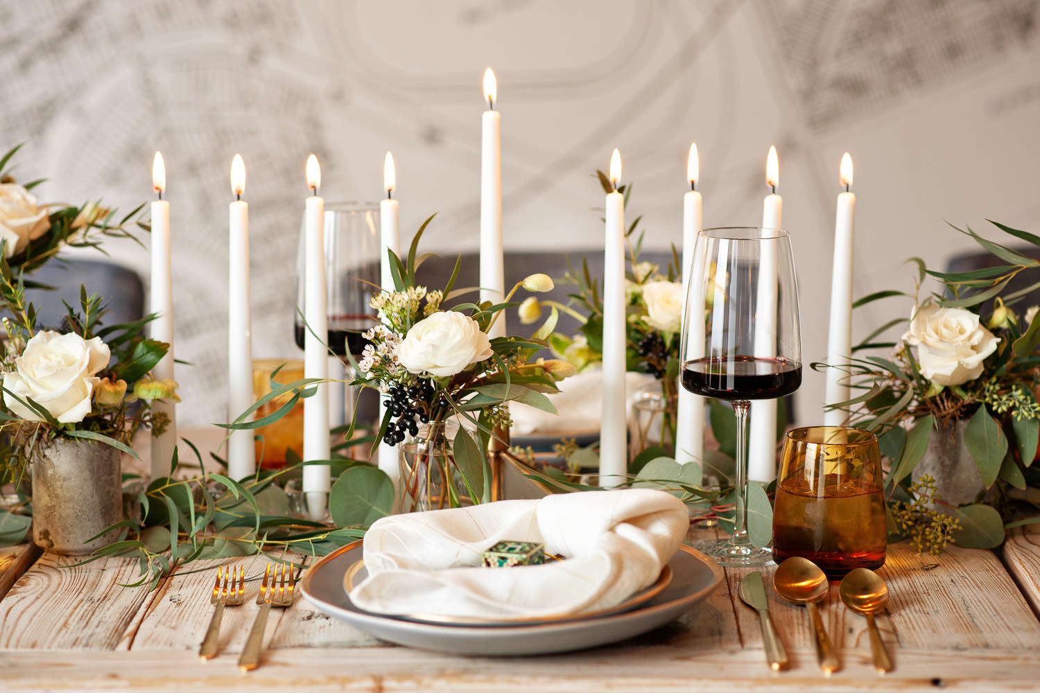 Hanukkah tabletop inspiration from 206 Event Co. captured by Tara Whittaker Photography