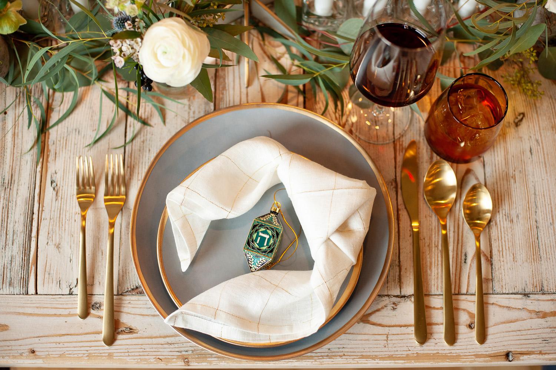 Hanukkah place setting captured by Calgary wedding photographer Tara Whittaker