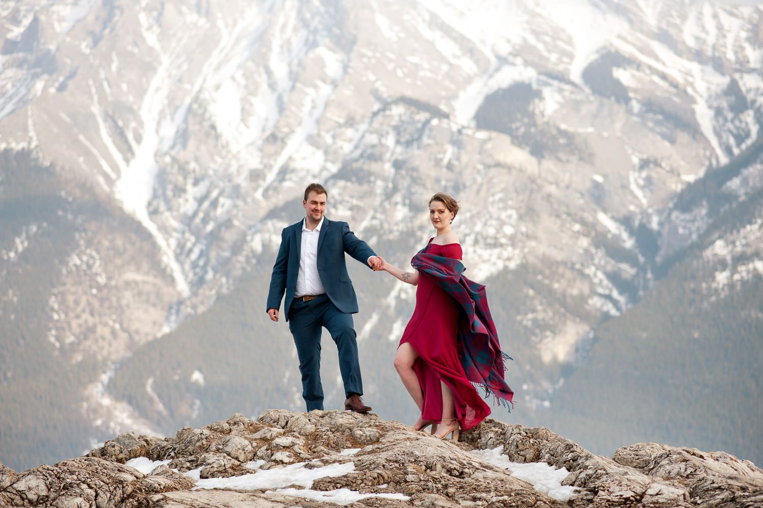 Winter engagement session in Banff National Park Calgary wedding photographer Tara Whittaker