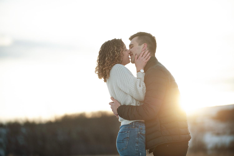 Shot of couple at sunset captured by Calgary wedding photographer Tara Whittaker