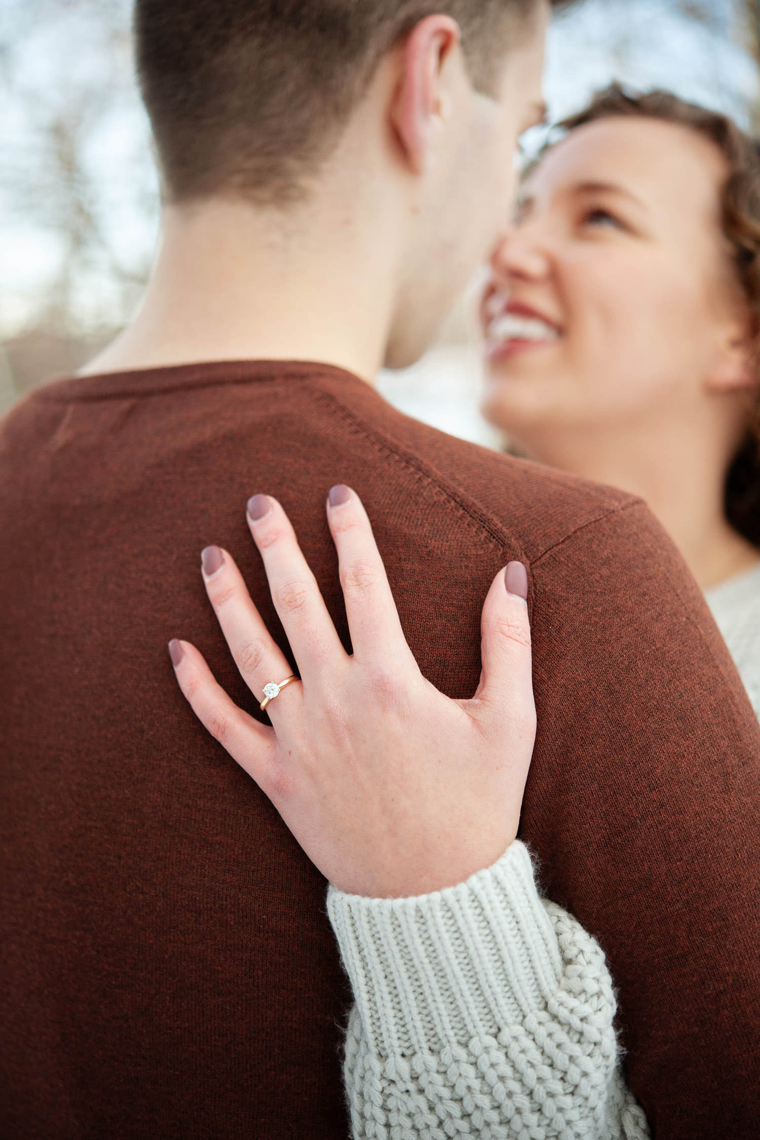 Engagement ring shot during winter engagement session captured by Tara Whittaker Photography