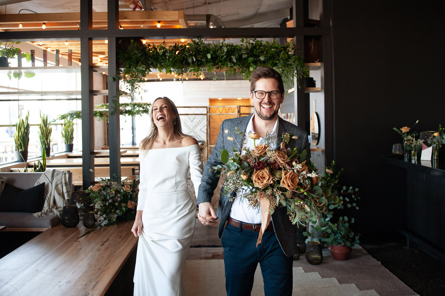 Just married after a Calgary micro wedding captured by Tara Whittaker Photography