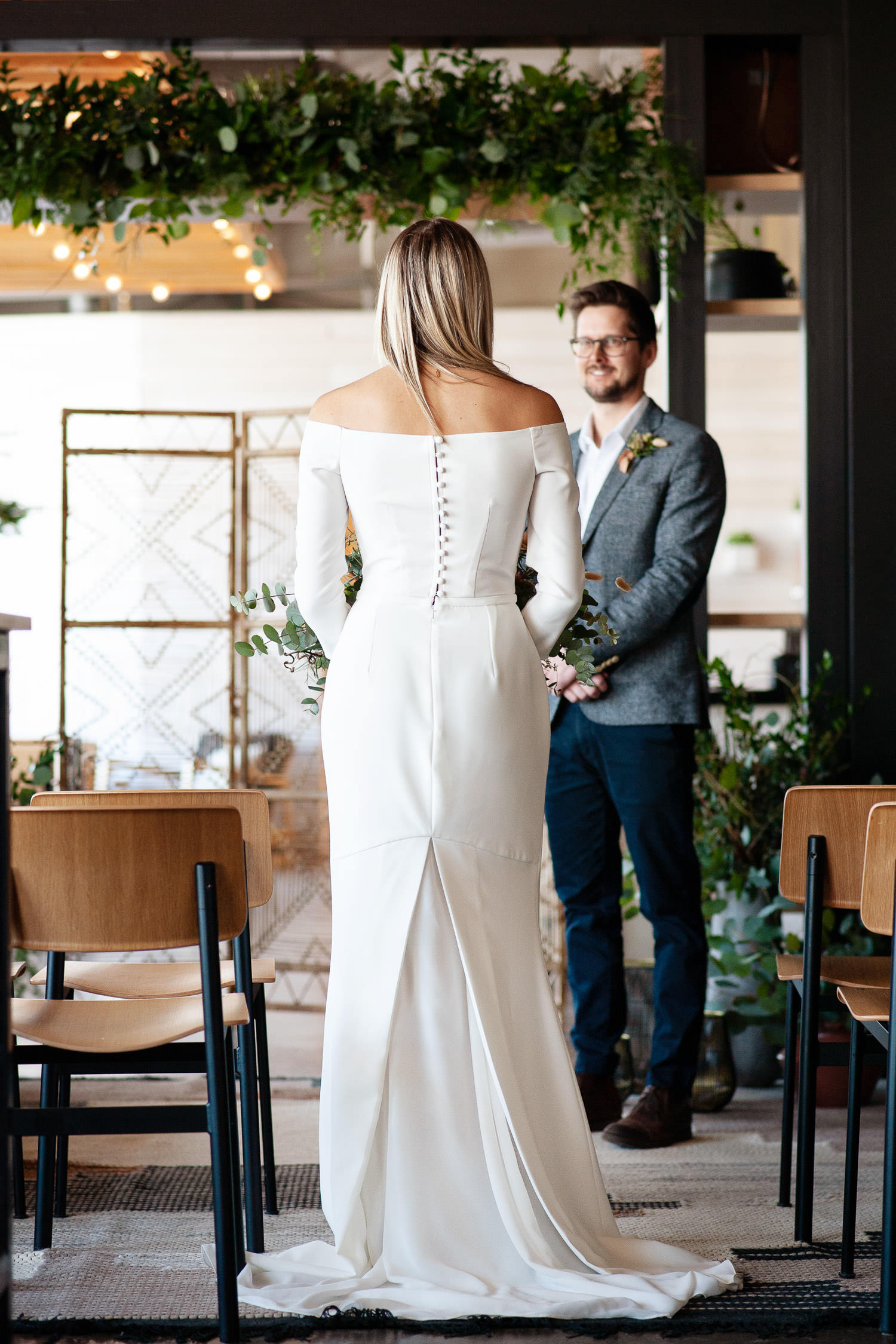 Bride walks down the aisle at her Annex Ale Project Wedding captured by Tara Whittaker Photography