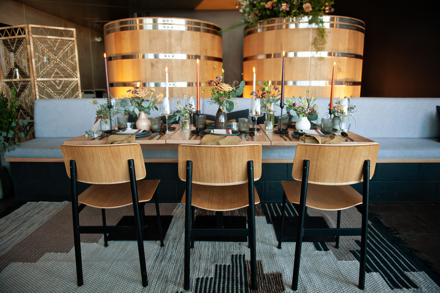 Reception table inside Annex Ale Project captured by Calgary wedding photographer Tara Whittaker