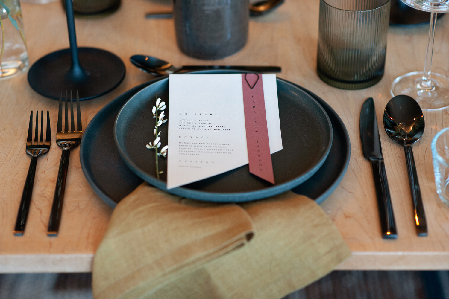 Tableware by Crate & Barrel at an Annex Ale Project wedding captured by Tara Whittaker Photography