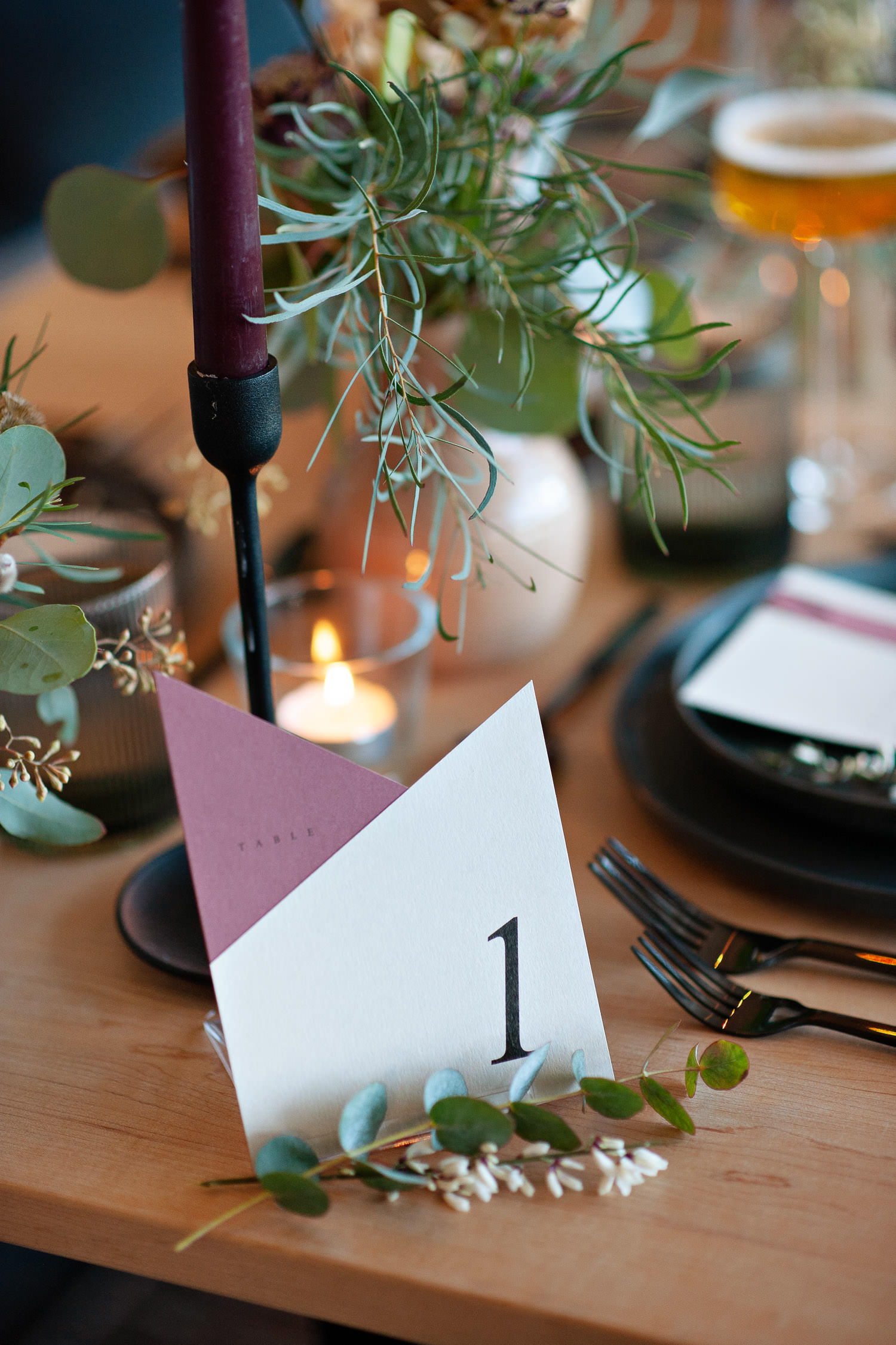 Table number by Pink Umbrella captured by Tara Whittaker Photography
