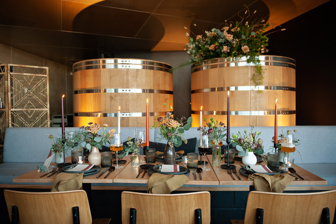 Oak barrels inside Annex Ale project one of Calgary's best wedding venues captured by Tara Whittaker Photography