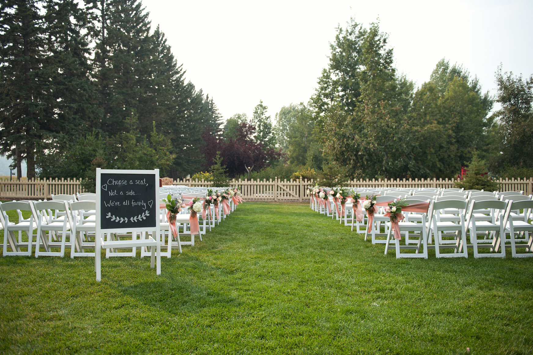 ceremony site at Bow Valley Ranche captured by Tara Whittaker Photography