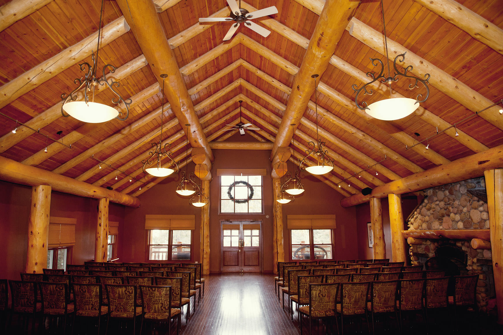 Inside Wapiti Longhouse at Buffalo Mountain Lodge captured by Tara Whittaker Photography