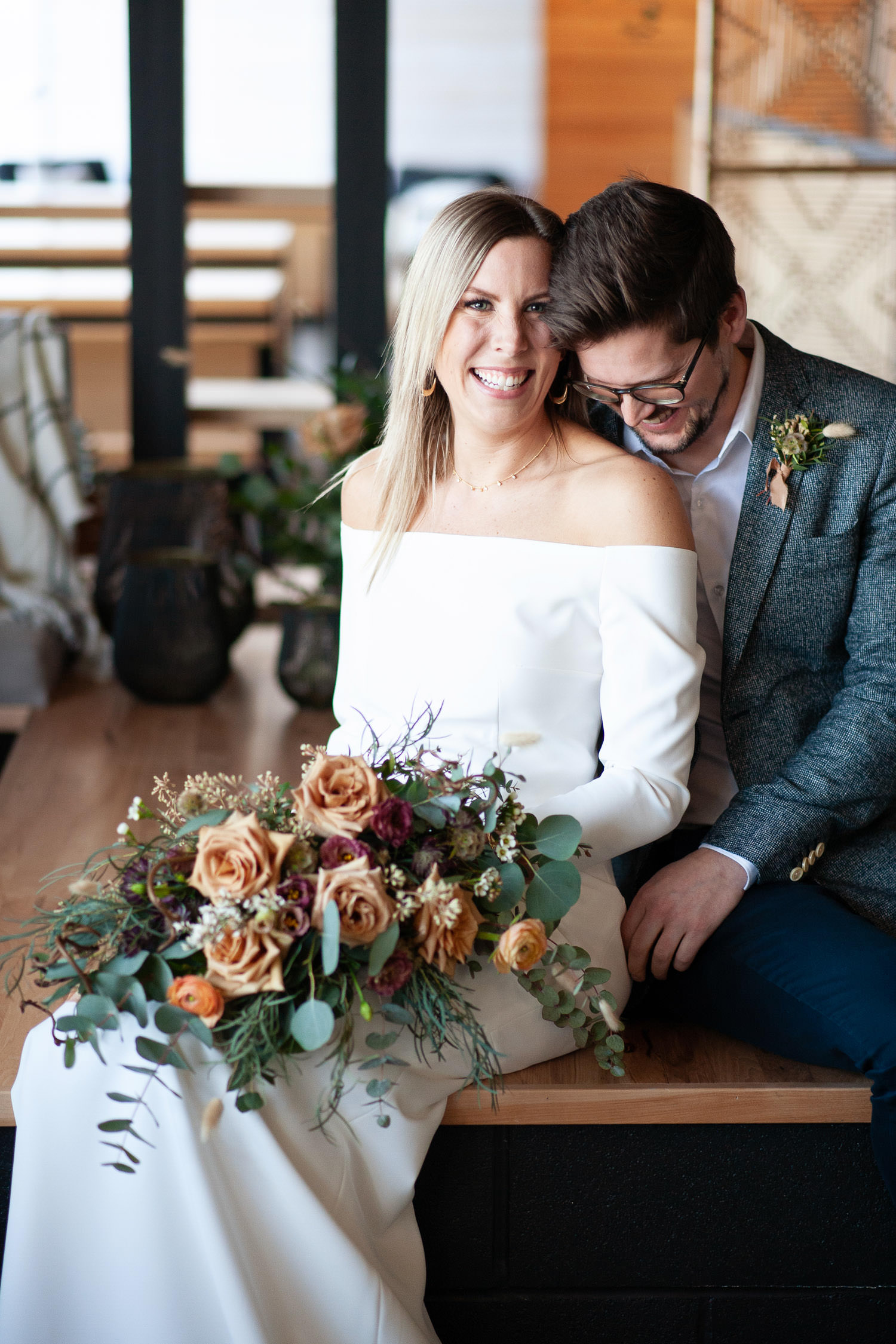Bride and groom at Annex Ale Project Calgary intimate weddings and elopements captured by Tara Whittaker Photography