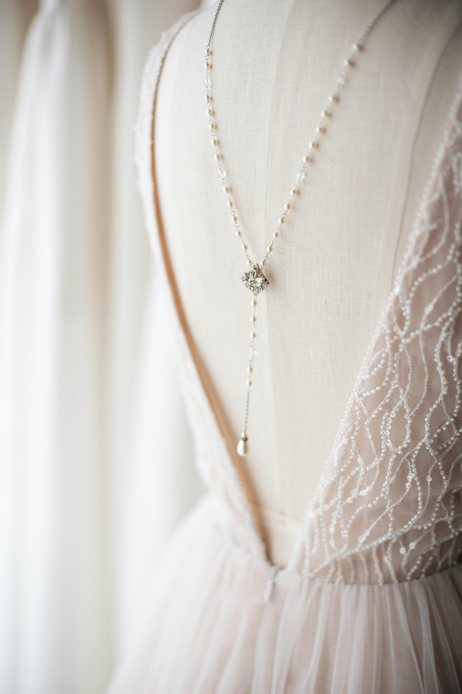 pearl back necklace Calgary jewelry designer Joanna Bisley captured by Tara Whittaker Photography