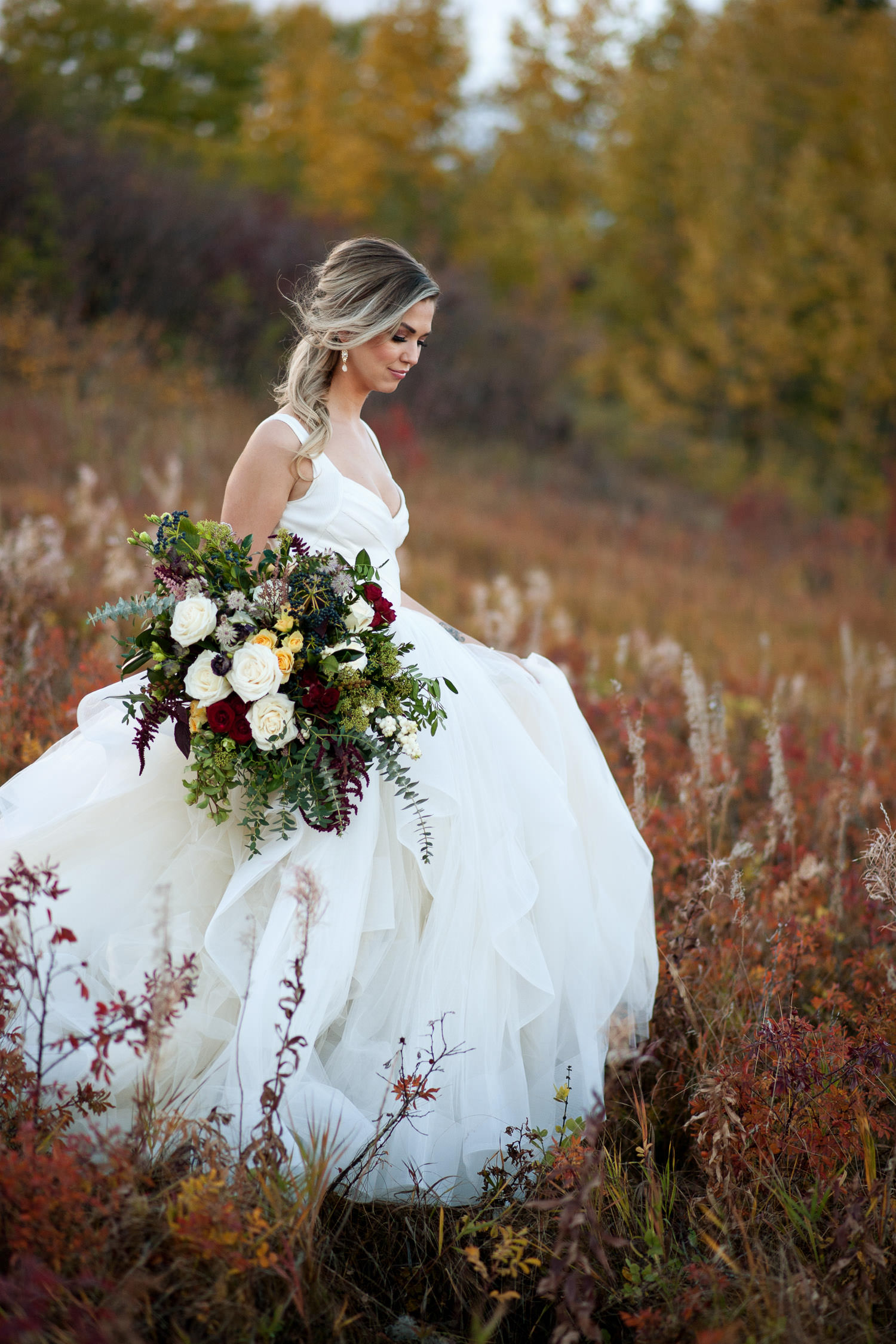 fall bridal inspiration bride wearing Hayley Paige captured by Tara Whittaker Photography