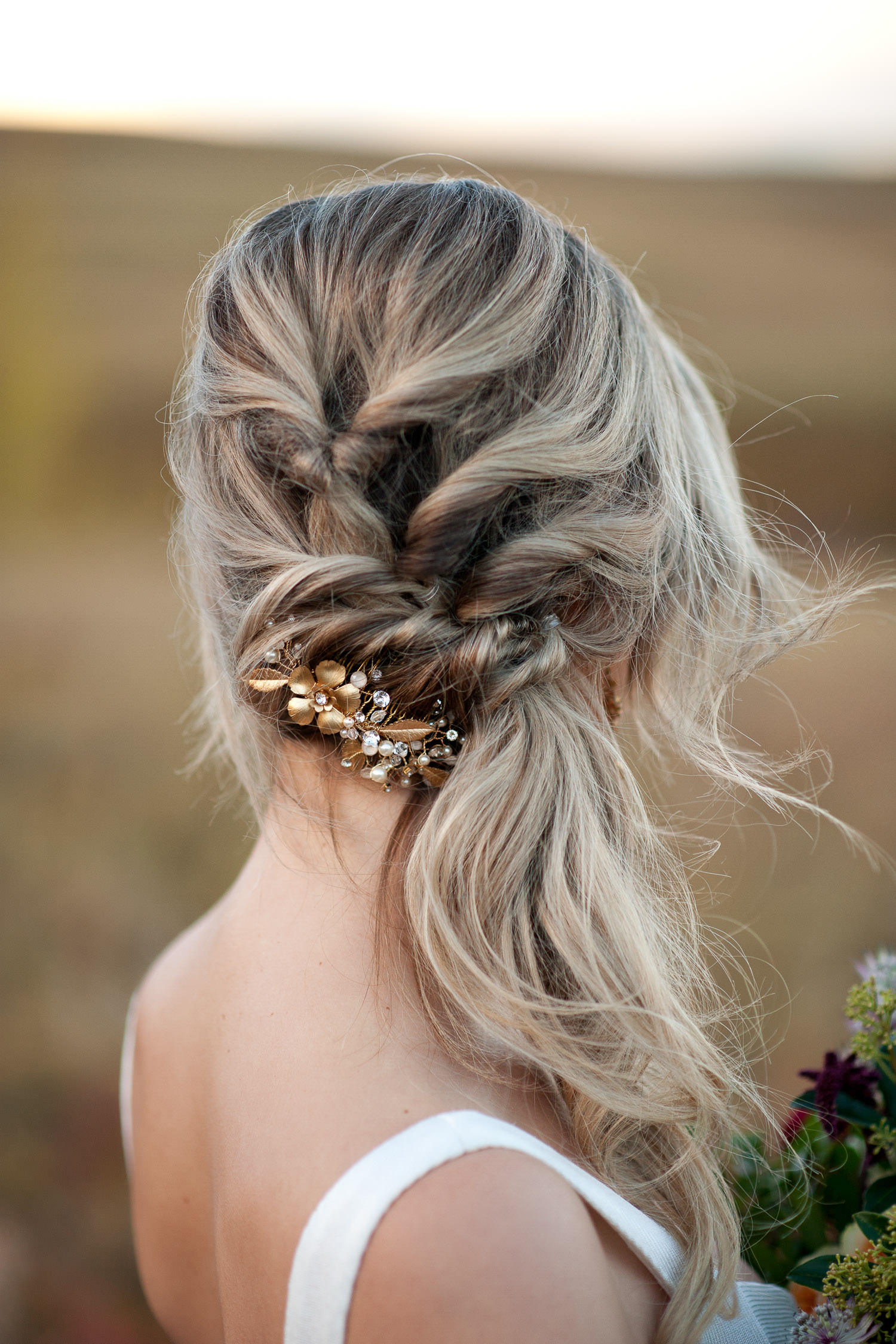 fall bridal inspiration hairpiece by Joanna Bisley captured by Tara Whittaker Photography