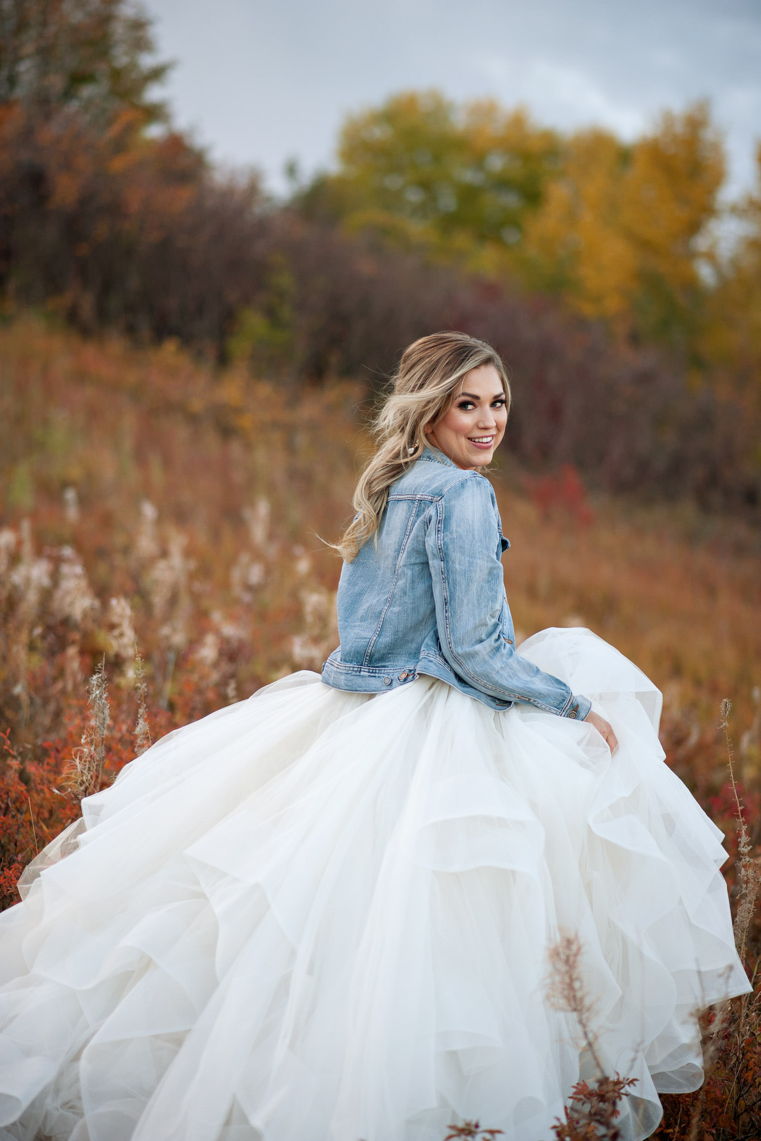 bride wearing denim and tulle fall bridal inspiration captured by Tara Whittaker Photography