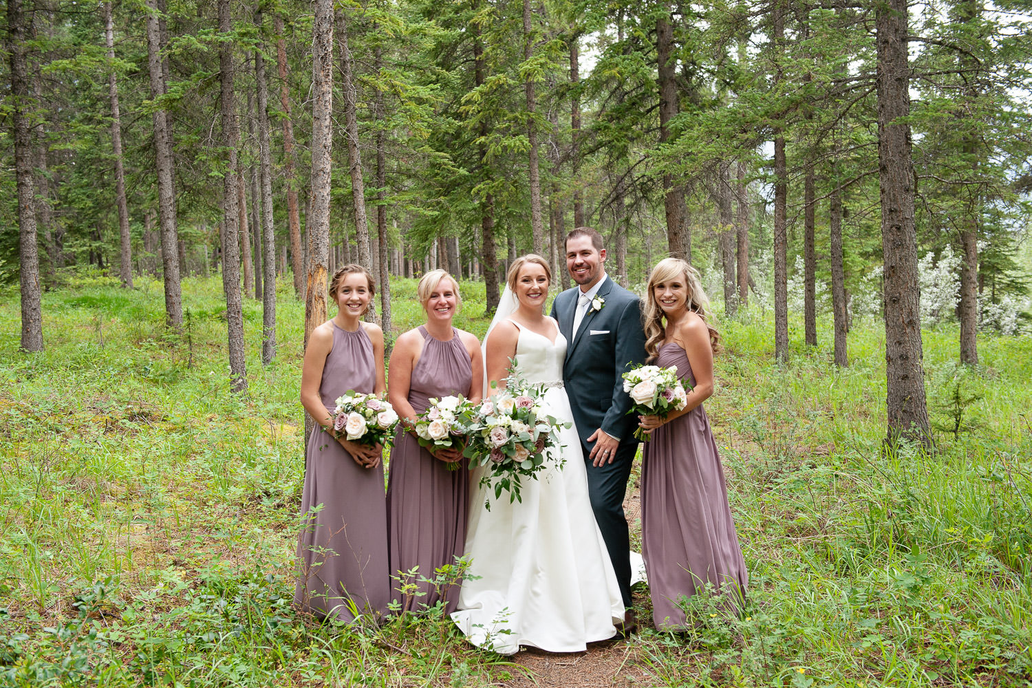 Bridal party portrait in Canmore captured by Tara Whittaker Photography