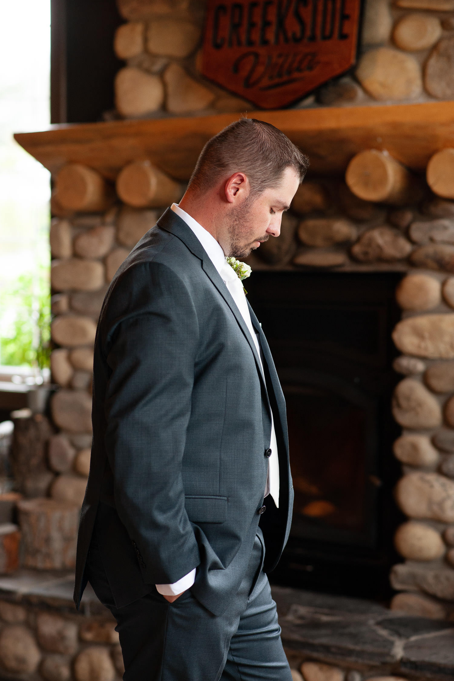 Groom before the first look at a Creekside Villa wedding captured by Tara Whittaker Photography