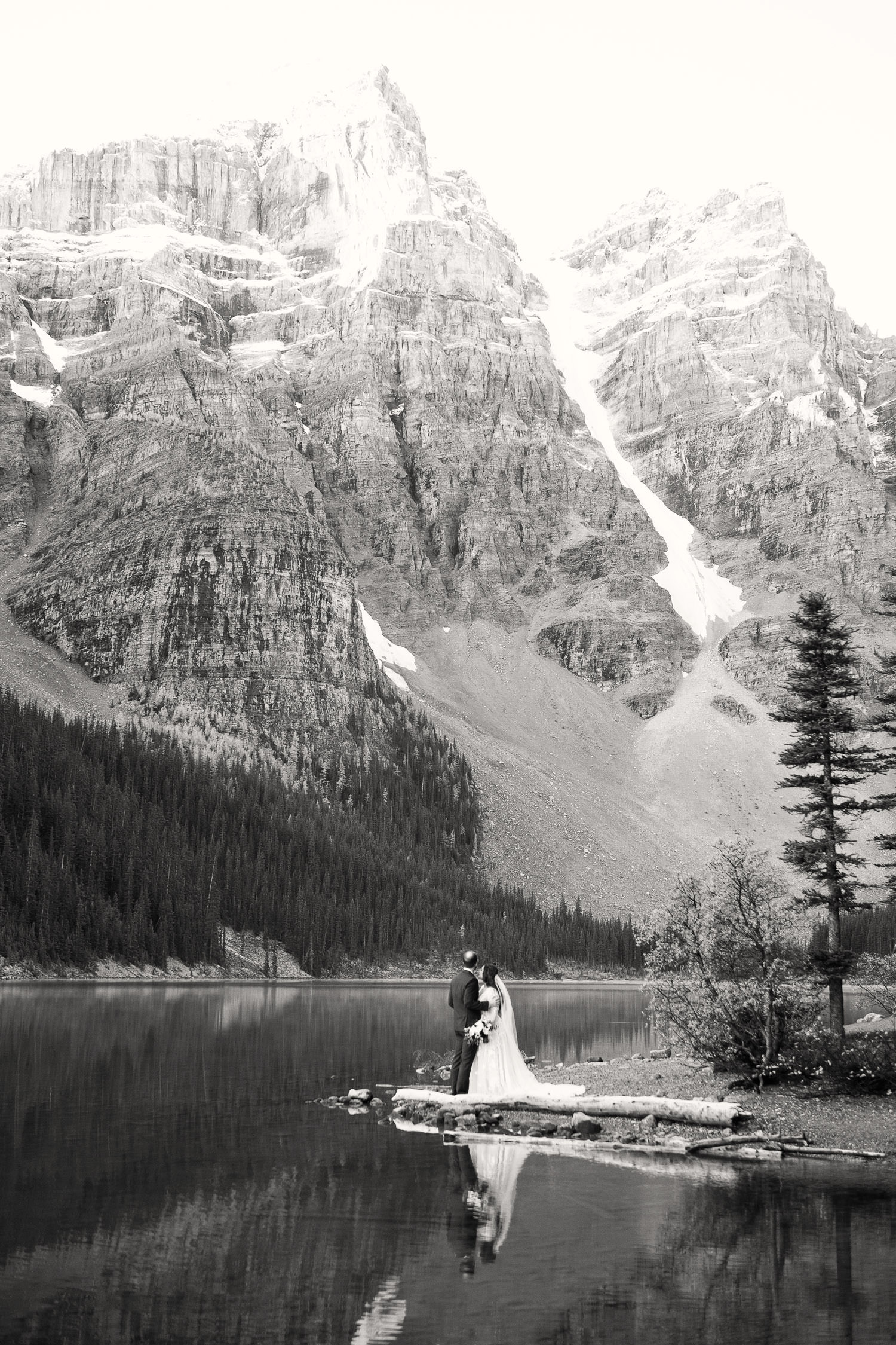 bridal portrait at Moraine Lake captured by Tara Whittaker Photography