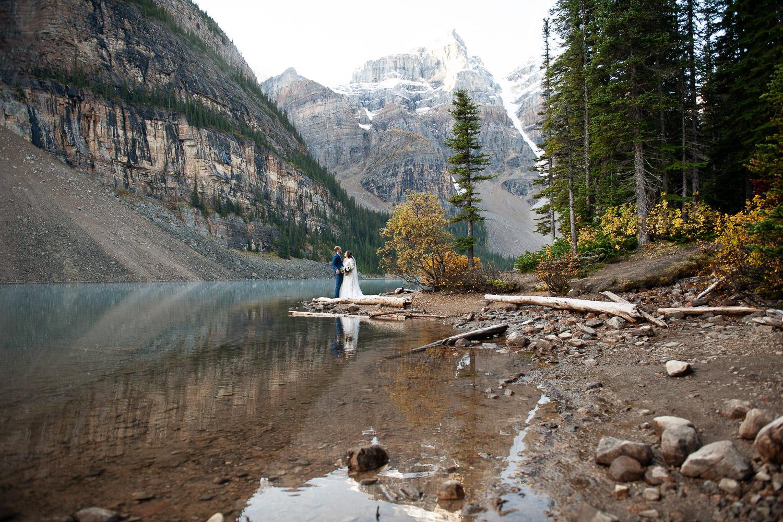 Bridal portrait at Moraine Lake Alberta captured by Tara Whittaker Photography