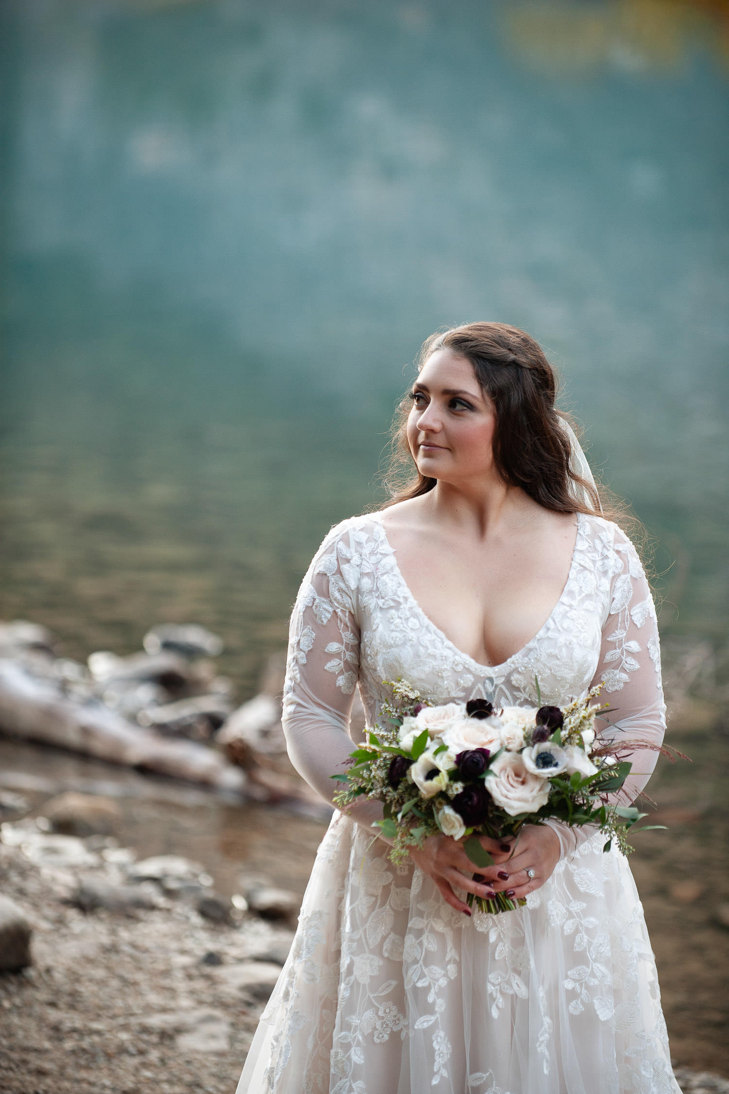 Bride at her Moraine Lake elopement captured by Tara Whittaker Photography