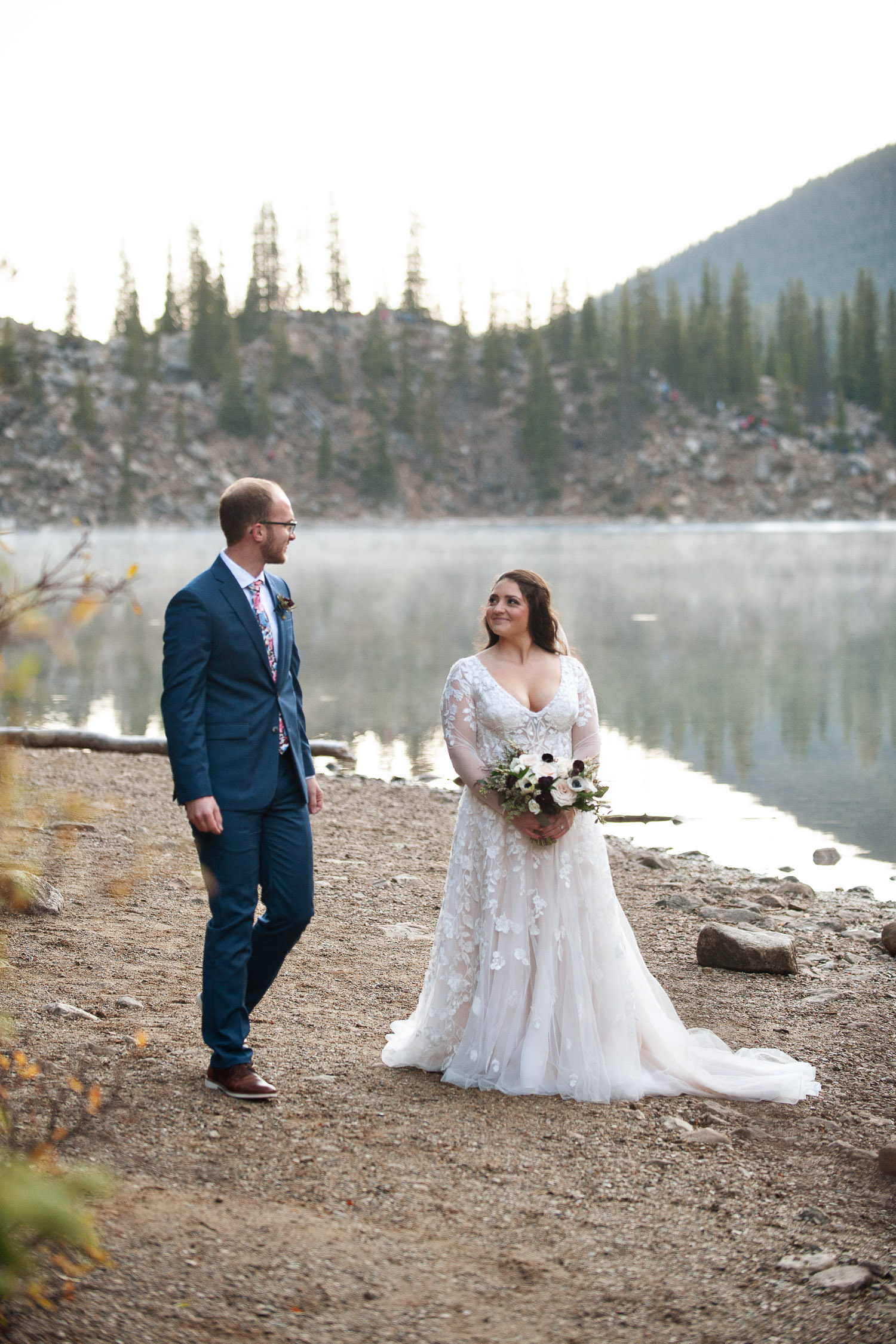 First look at a Moraine Lake elopement captured by Tara Whittaker Photography
