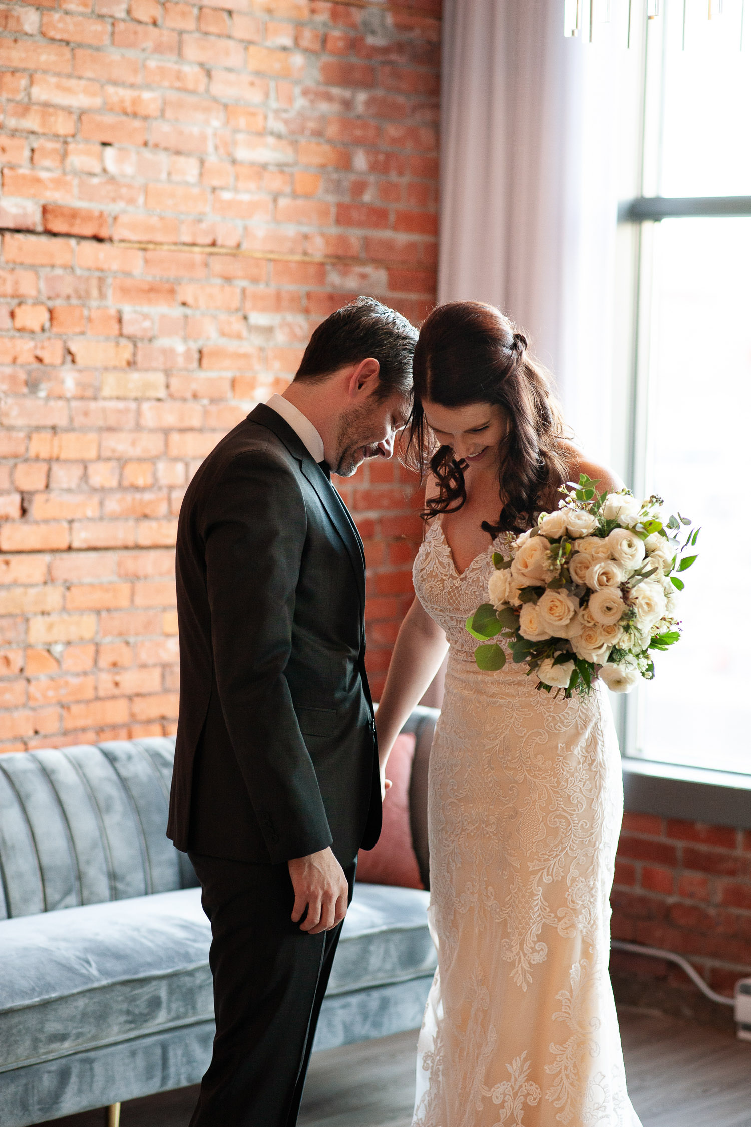 Intimate moment during first look at Venue 308 captured by Tara Whittaker Photography