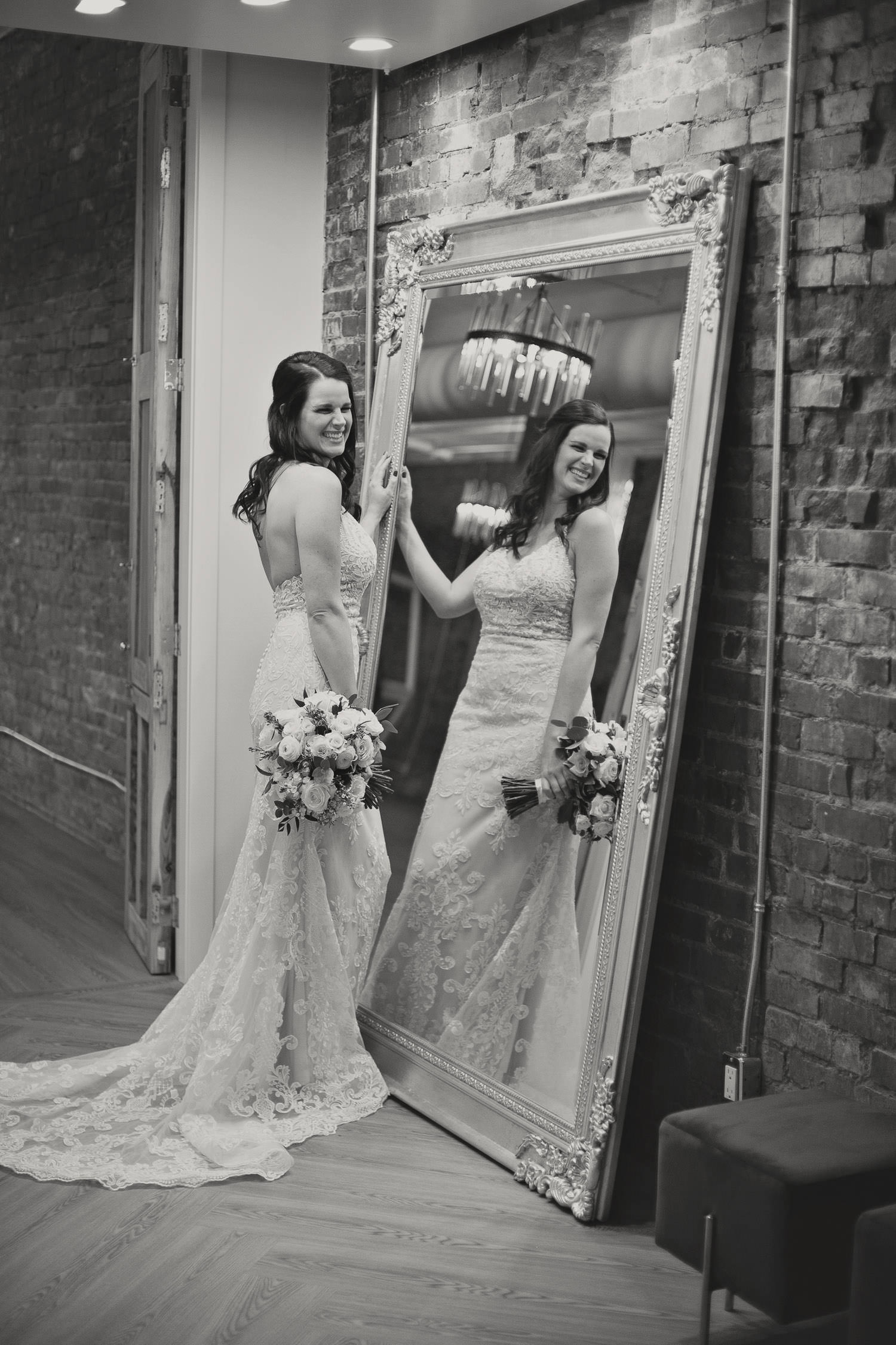 bride reflected in a mirror captured by Tara Whittaker Photography