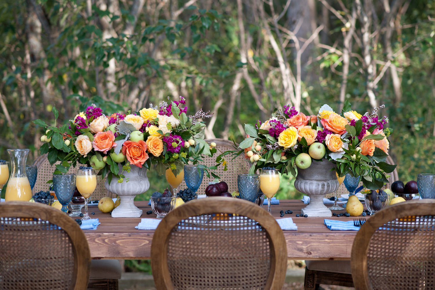 Fruit & floral centrepieces for a brunch wedding captured by Tara Whittaker Photography