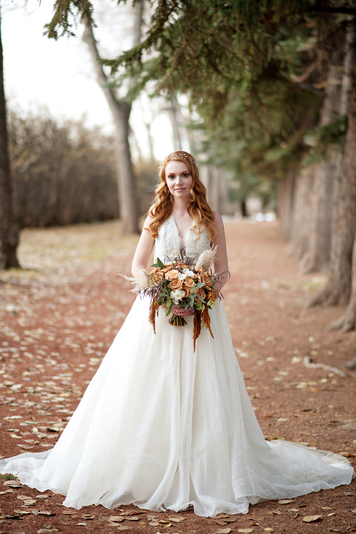fall bridal portrait captured by Tara Whittaker Photography