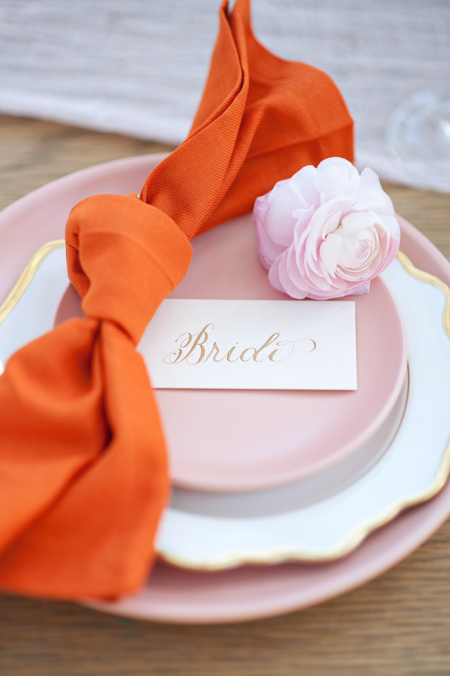 The bride's place setting at her garden wedding captured by Tara Whittaker Photography