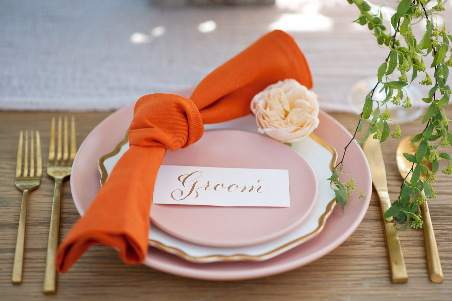 The groom's place setting at a garden wedding captured by Tara Whittaker Photography