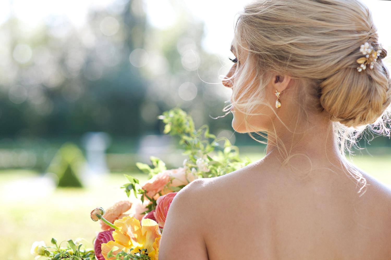 bridal updo at a garden wedding captured by Tara Whittaker Photography