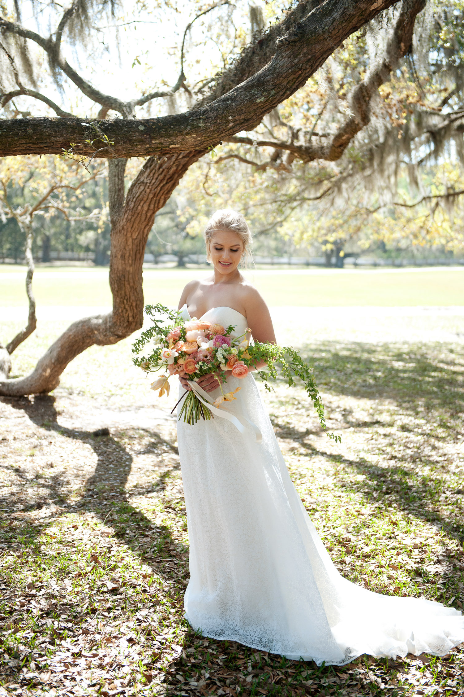 bride standing among the oaks at Middleton Place captured by Tara Whittaker Photography
