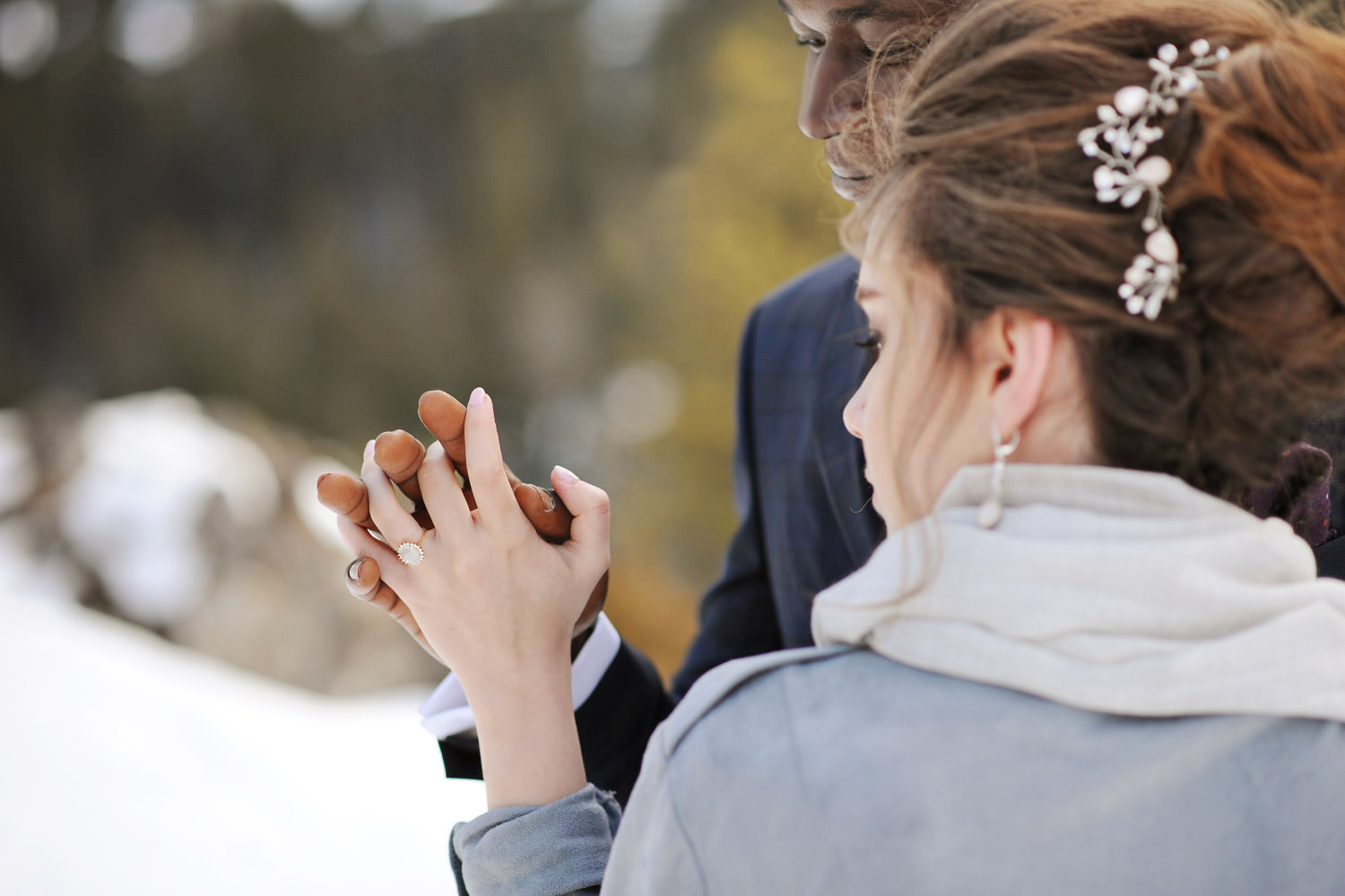 Wedding ring at Lake Minnewanka captured by Tara Whittaker Photography