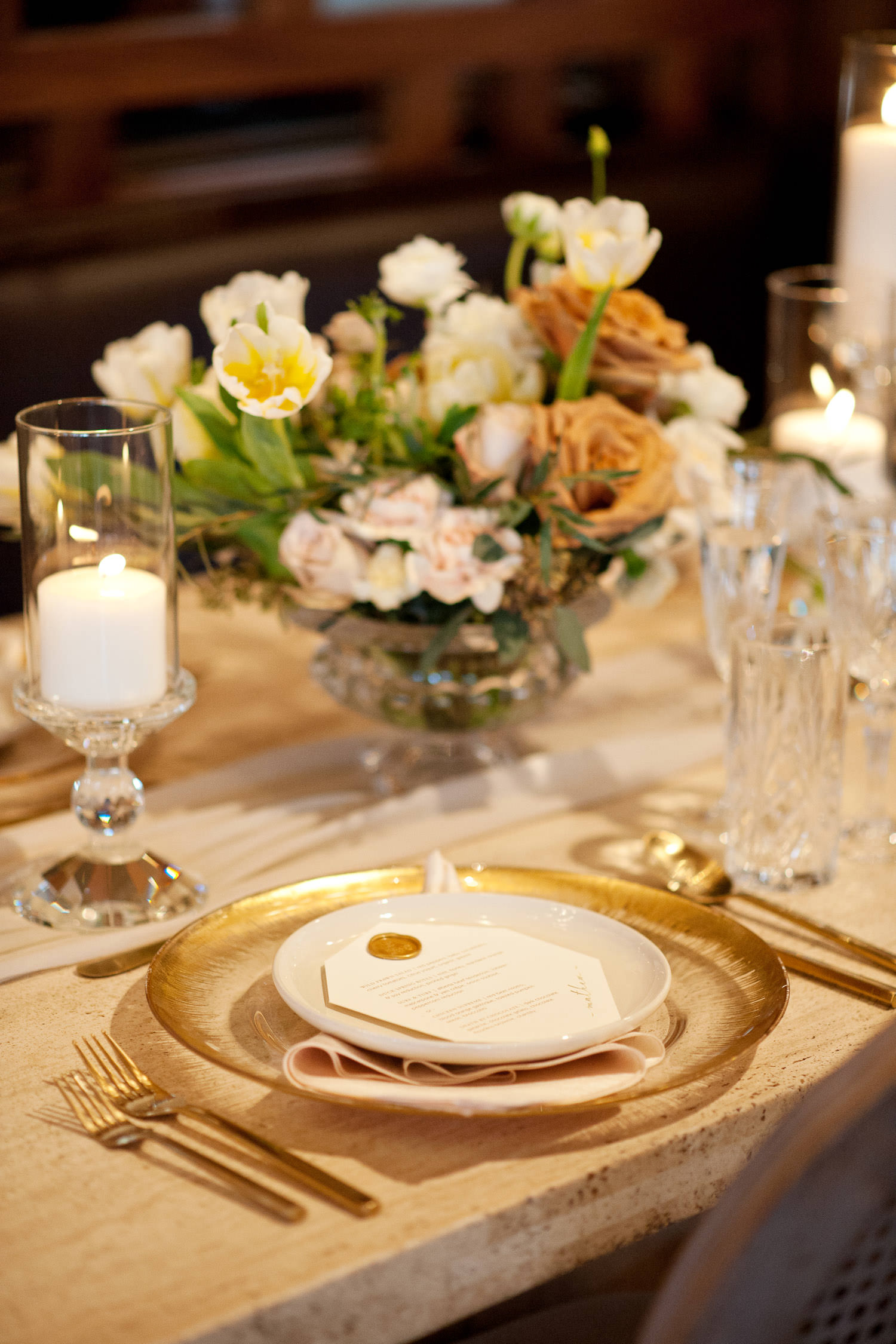 Gold place settings at an Alloy Wedding captured by Tara Whittaker Photography