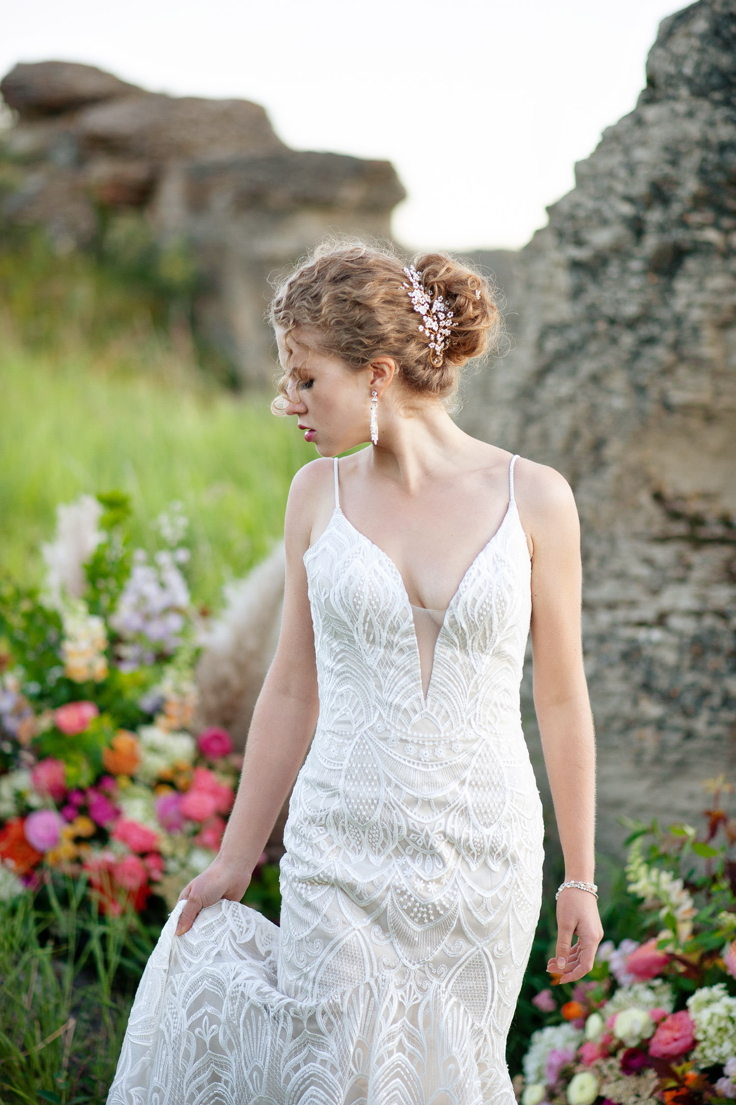 bride wearing a pearl headpieces by Joanna Bisley Design captured by Tara Whittaker Photography
