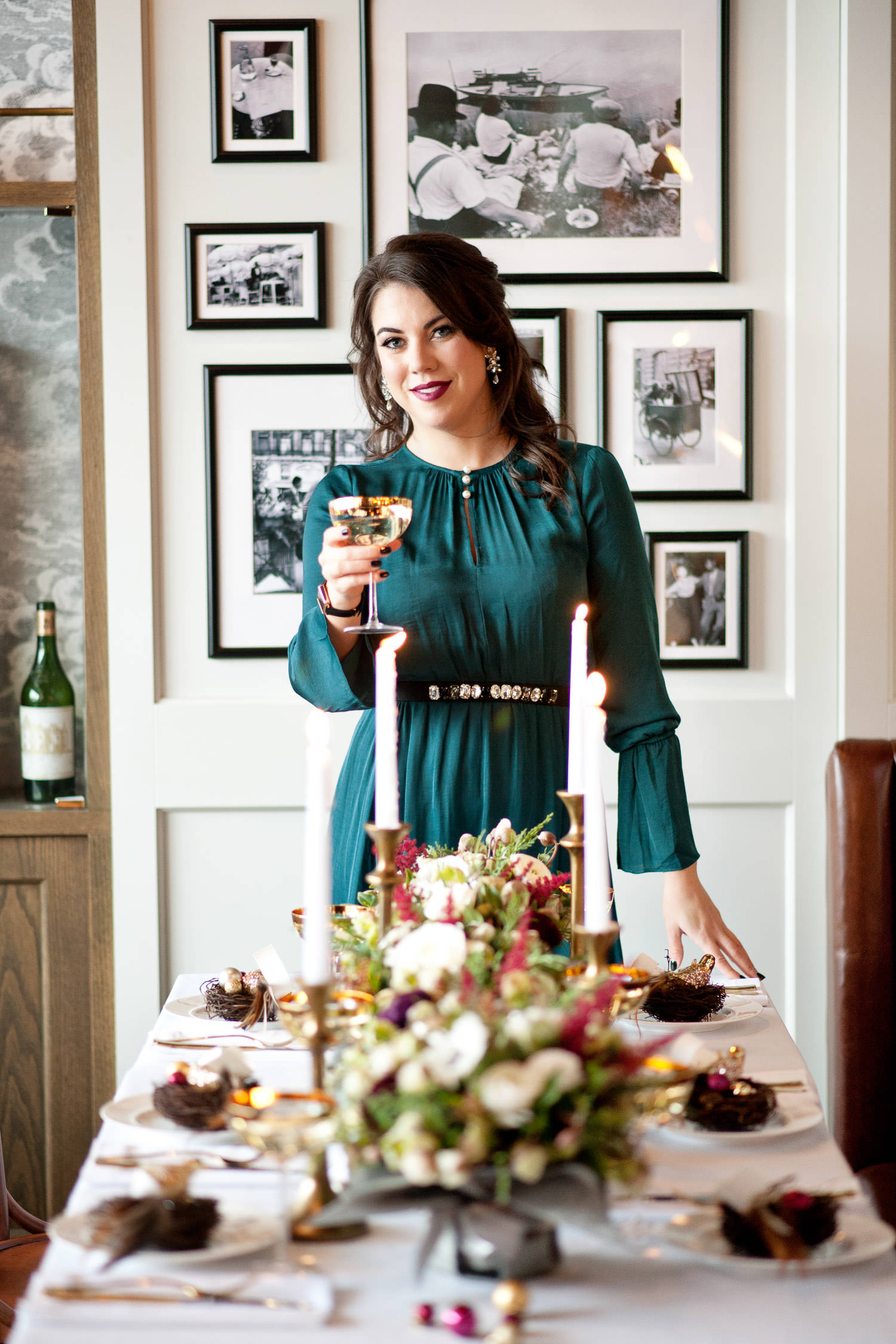 Hostess proposes a toast at a December wedding captured by Tara Whittaker Photography