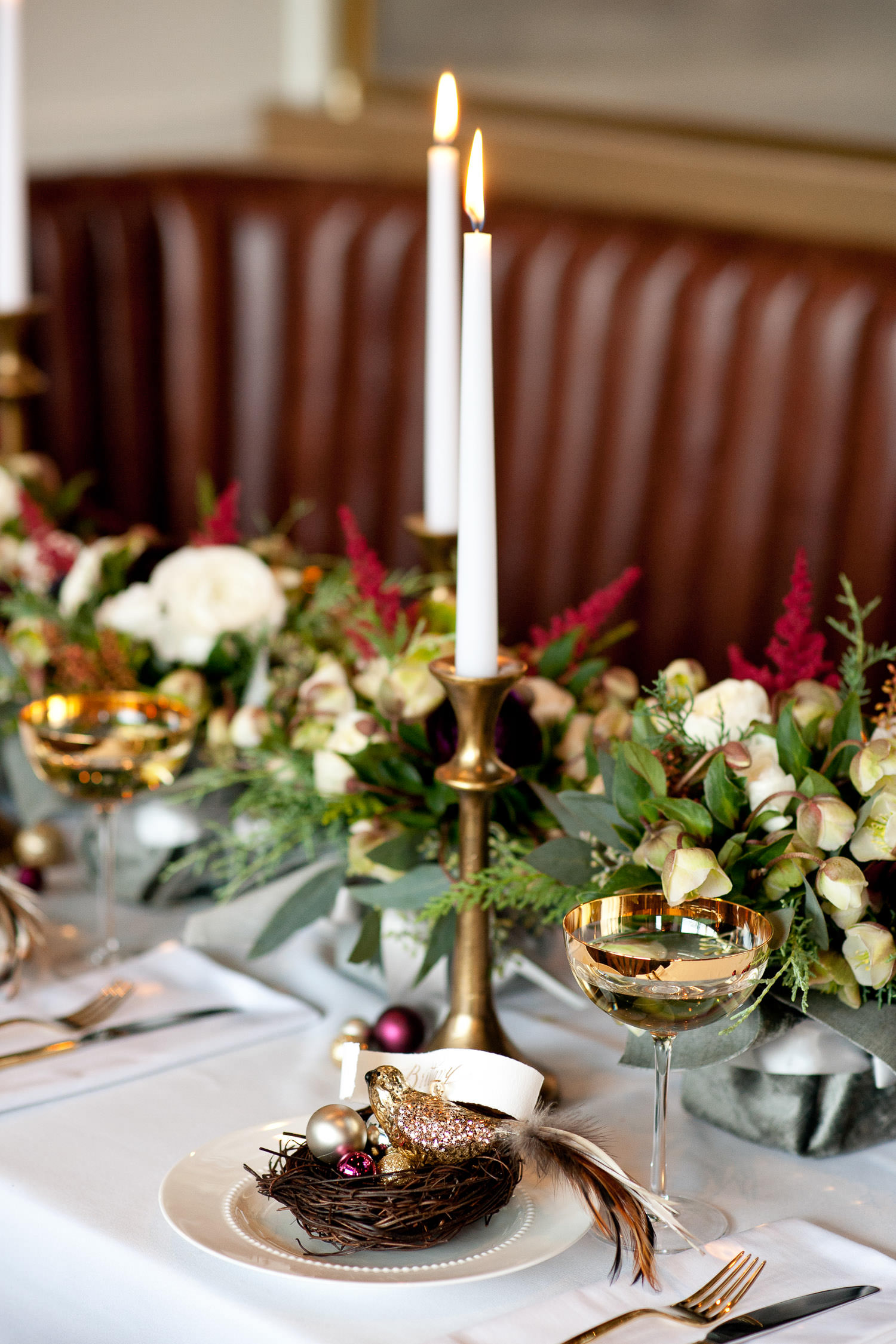 bird's nest on a holiday tabletop captured by Tara Whittaker Photography