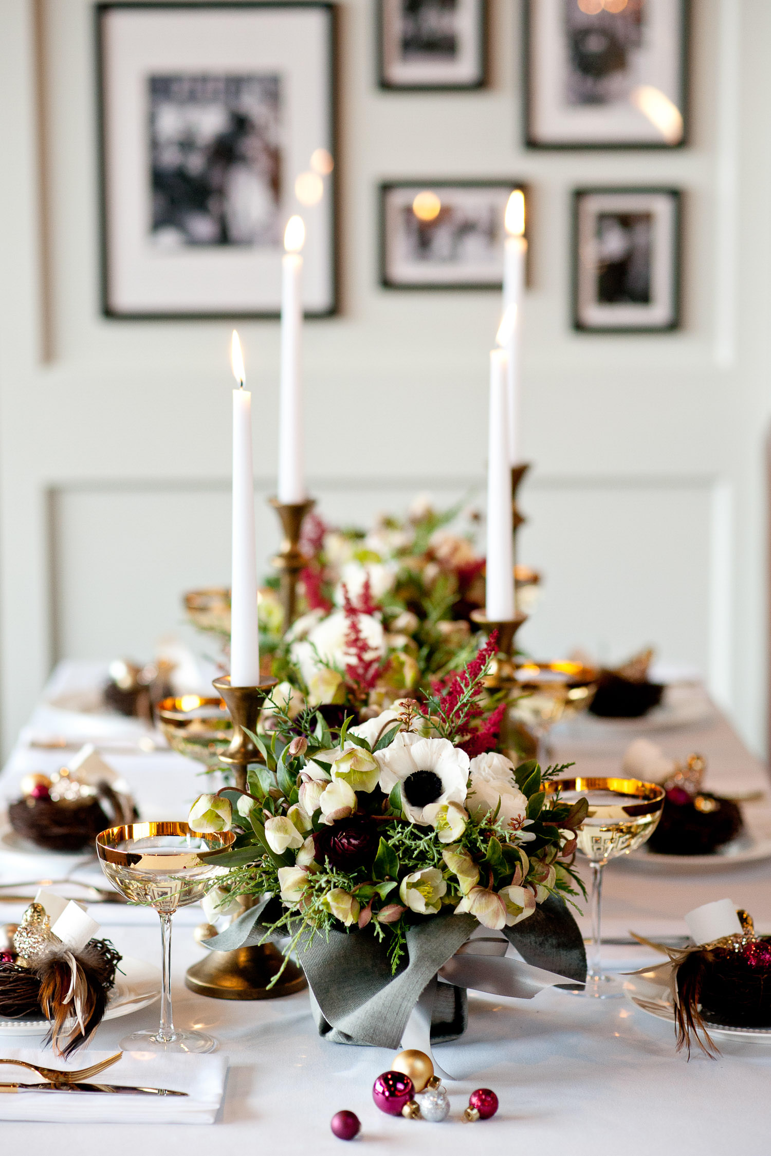 flowers and candles on a holiday table captured by Tara Whittaker Photography