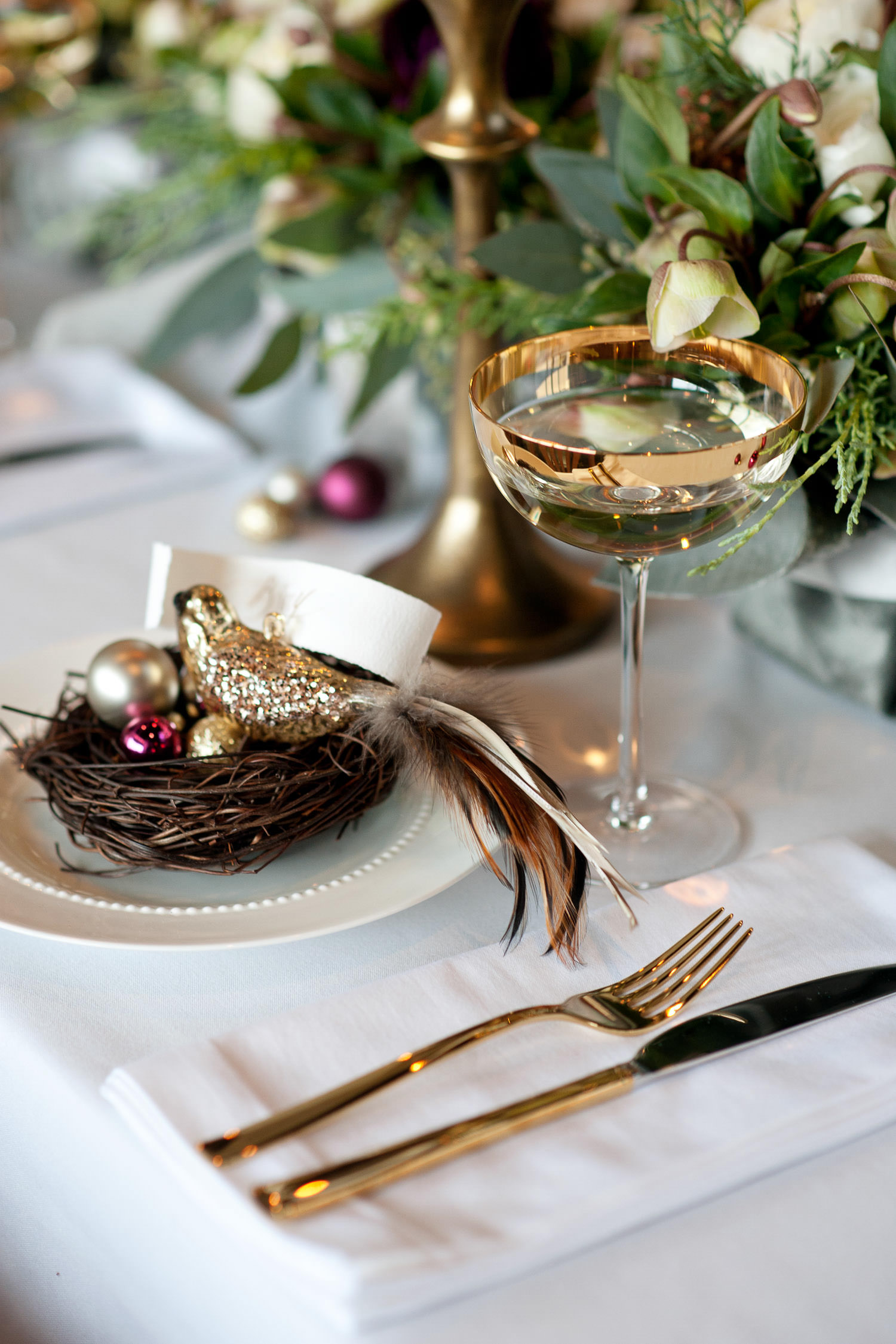 bird's nest at a place setting for a December wedding captured by Tara Whittaker Photography