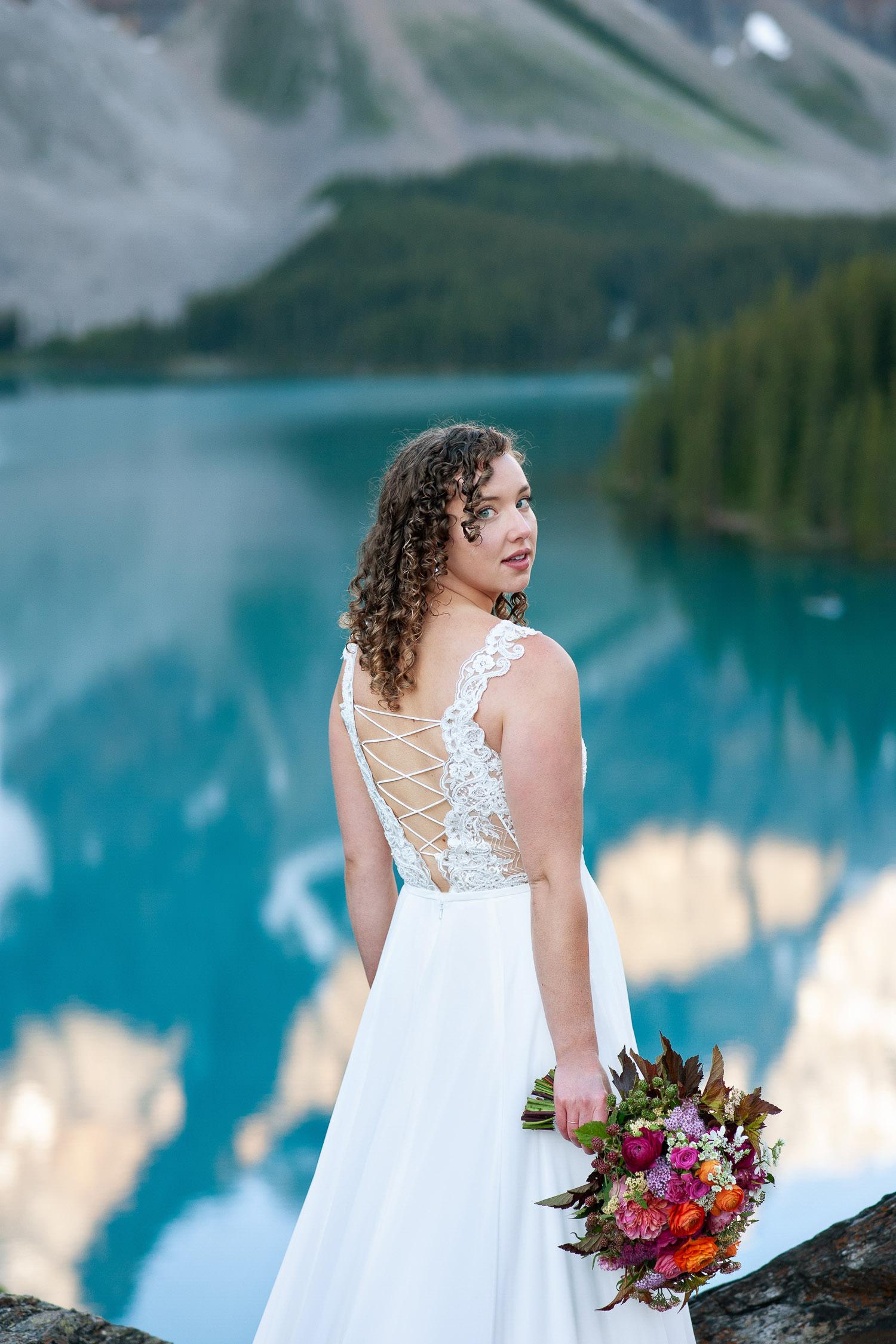 Beautiful bride during her Moraine Lake wedding photos captured by Tara Whittaker Photography